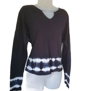 WILD FABLE NWT Shirt Long Sleeve Tie Dye Black V-Neck Cotton Small